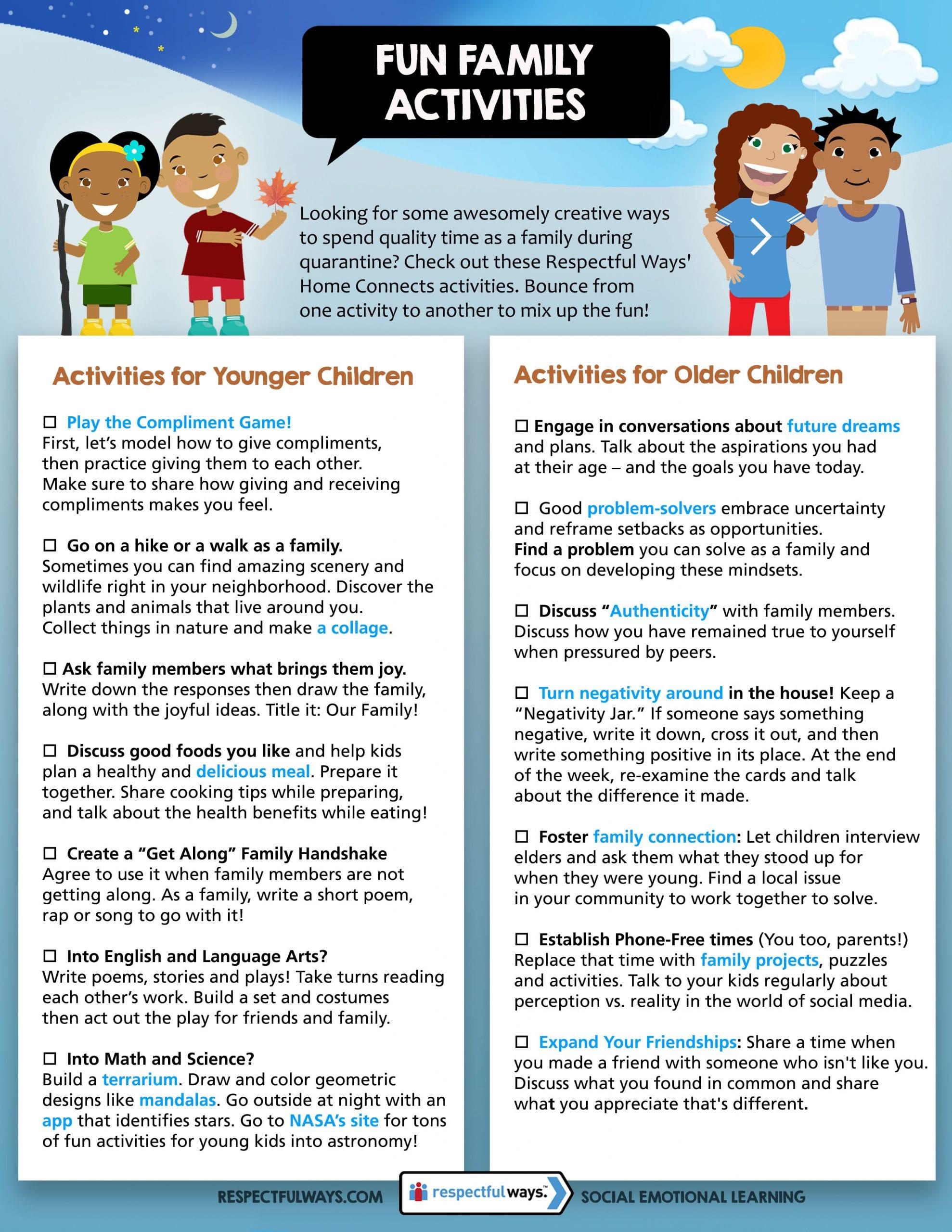 Respectful Ways Family Fun Activities Checklist