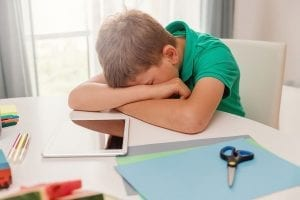 Sad child at home desk - Respectful Ways Online Learning